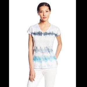 CALVIN KLEIN Blue/White Tie Dye V-Neck Tee Medium